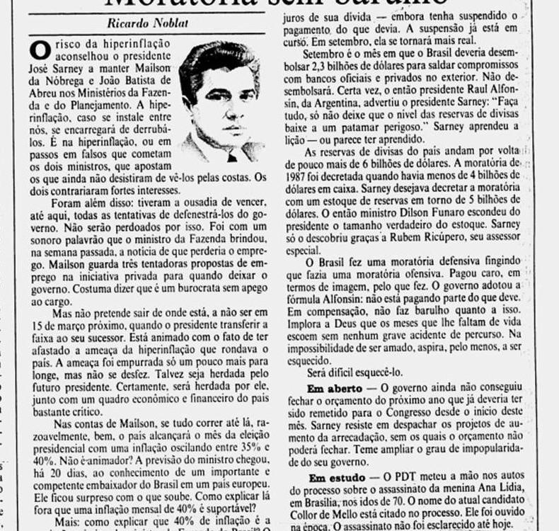 Jornal do Brasil, edição de 12 de agosto de 1988