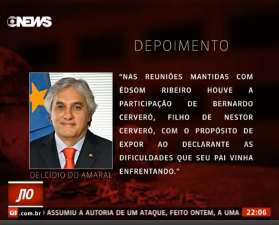GloboNews: vazamento do depoimento do senador Delcídio do Amaral - Foto - reprodução da TV