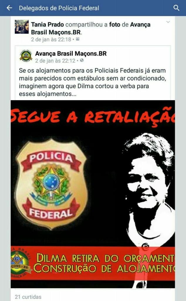 A delegada Tânia Prado levou para a página dos delegados no Facebook o apoio da Maçonaria que defende o impeachment da presidente.