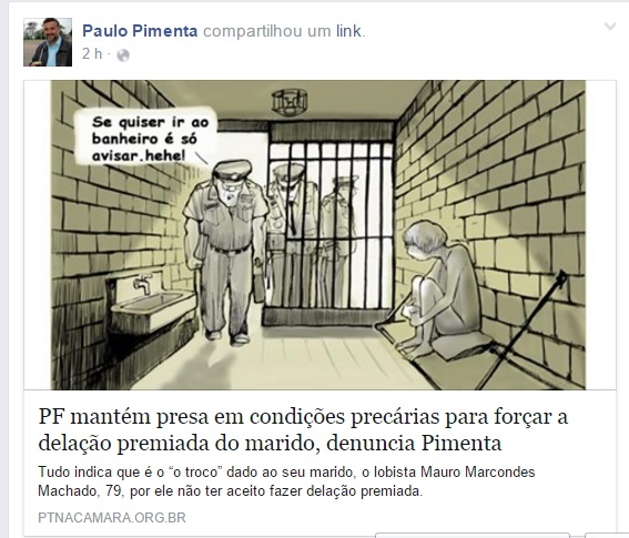 Reprodução da página  do deputado Paulo Pimenta no Face BooK