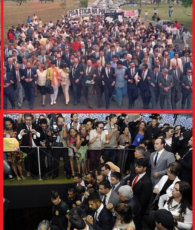 Em 1992, os presidentes da OAB, Marcelo Lavenère e da ABI, Barbosda Lima Sobrinho levaram um pedido de impeachment à Câmara nos braços do povo; na segunda-feira, pelo menos parte do povo vaiou e se manifestou contra os conselheiros da Ordem que foram à Câmara protocolar outro pedido de impeachment. As fotos falam por si (Foto Pública/Luís Macedo - Ag. Câmara)