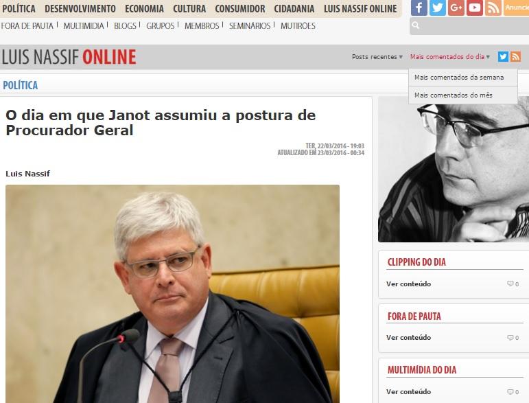 Luis Nassif antecipou trechos do comunicado interno do Procurador-geral, Rodrigo Janot