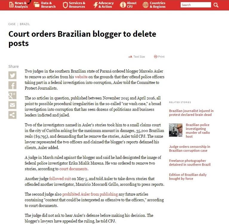 CPJ -Comitê para Proteção  aos Jornalistas