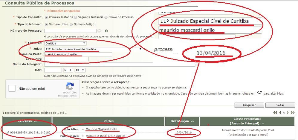 No dia 13 de abril, Moscardi e sua advogada ingressaram com uma ação de indenização por danos morais contra o editor do blog no Juizado Especial Cível de Curitiba, do fórum central.....