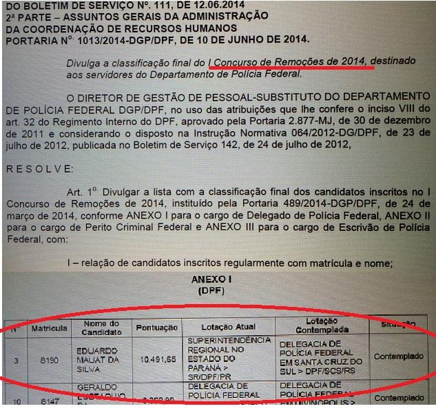 Documento de junho de 2014 anunciando a transferência de Eduardo Mauat para a Delegacia de Polícia Federal de Santa Cruz do Sul (RS). Foi uma transferência a pedido,mas ele, pelo que informaram na própria delegacia, pouco apareceu por lá. É normal, isto?