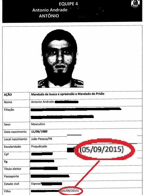 Na ficha de identificação de Antônio, a data do nascimento do filho que estaria sendo treinado para  ser um integrante do Estado Islâmico: