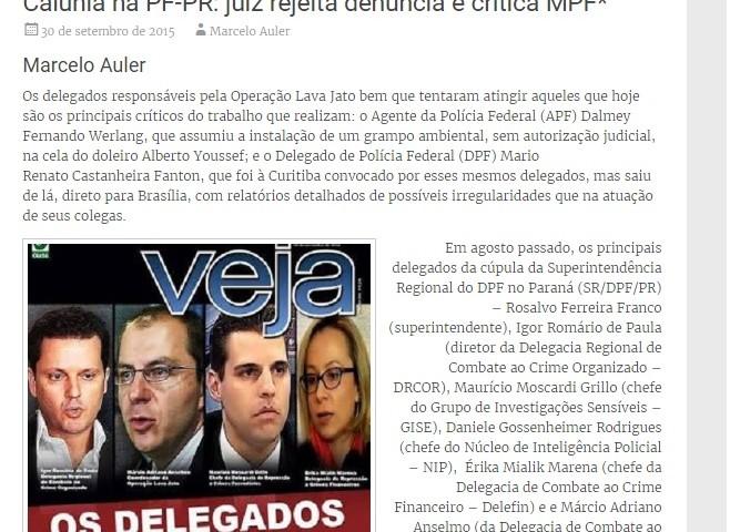 A rejeição da denúncia foi noticiada no blog em setembro de 2015.