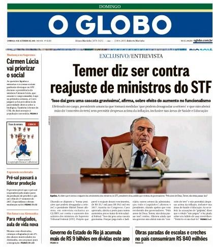 Reprodução editada da primeira página de O Globo edição de domingo 11.09.2016