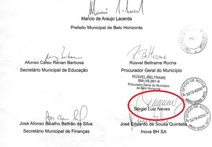 Assinatura do diretor-da Odebrecht, Sérgio Luiz Neves, preso na Lava Jato.