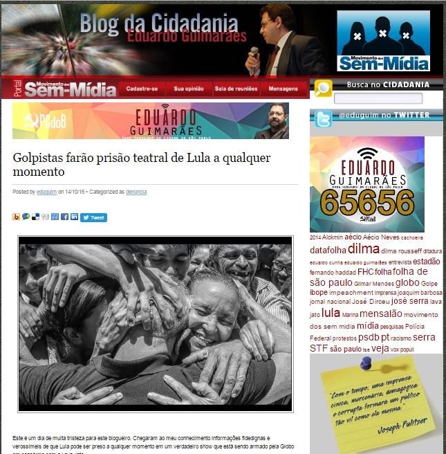 No Blog da Cidadania Eduardo Guimarães anuncia a prisão iminente de Lula.
