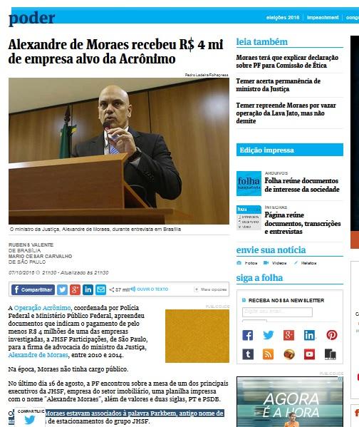 A materia da Folha que publica o vazamento da Polícia Federal sobre o registro de depósito feito na conta do hoje ministro da Justiça, Alexandre de Moraes.