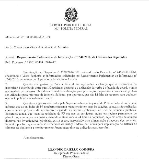 Na resposta ao parlamentar Daiello Coimbra deixou de explicar claramente a origem dos recursos.Tentou tangenciar falando de verbas para a conservação. Chico Alencar insistirá no assunto.