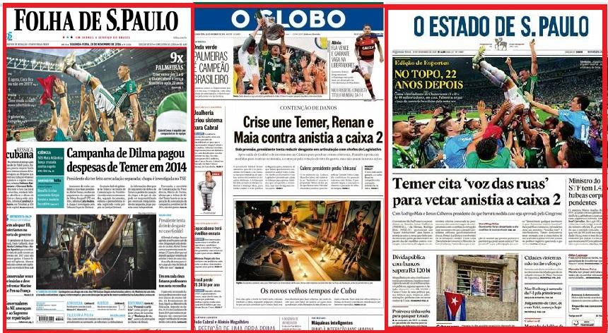 ... nos jornais, na segunda-feira, apenas a vitória do Palmeiras no campeonato.