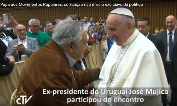 O ex-presidente do Uruguai, José Mujica, esteve no Encontro e foi citado pelo Papa Francisco em seu discurso