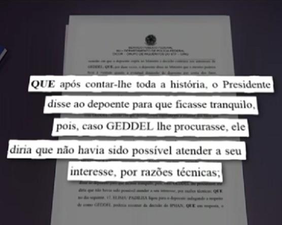 Temer recomendou que Calero ficasse tranquilo, como este falou à Polícia Federal (Reprosução TV Globo)