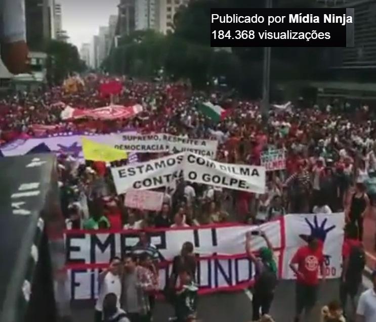 Na avenida Paulista, no domingo, milhares pedem Fora Temer..... (foto: reprodução MidiaNinja