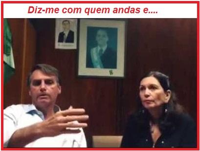 Bia Kicis e seu guru político, o deputado Jair Bolsonaro que cultua ditadores como se verifica nas fotos de seu gabinete. (Reprodução da Internet)