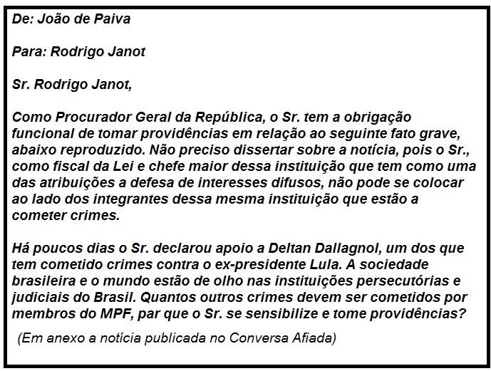 Mensagem do leitor João de Paiva ao procurador-geral da República