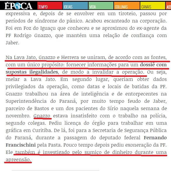 Na revista Época a acusação a Gnazzoi