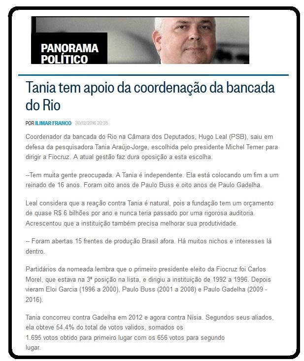 Hugo Leal anunciou apoio à nomeação de Tânia demonstrando que há interesses político-partidários na questão.