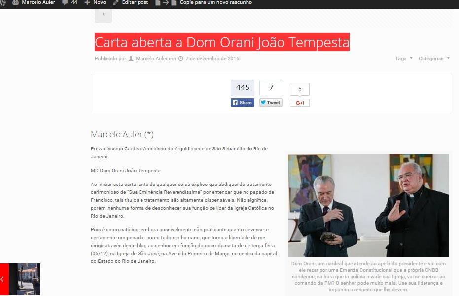 Reprodução da matéria publicada que pode ser acessada pelo link: http://marceloauler.com.br/carta-aberta-a-dom-orani-joao-tempesta/