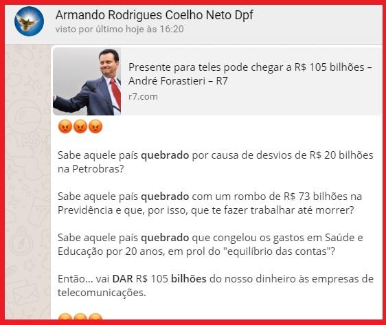 O quadro fala por si. Reprodução das postagens de Armando Rodrigues Coelho Neto.