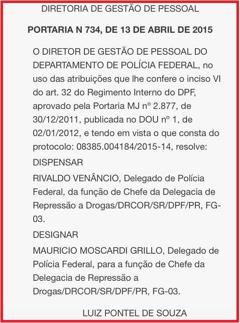 Portaria da nomeação de Moscardi na chefia da DRE, em 13 de abril de 2015