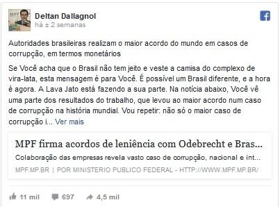 Mensagem de Dallagnol, reproduzida no Brasil 247, que gerou a carta de Aragão.