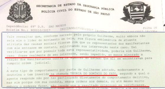 Na ´risão em flagrante de Boulos, o uso da teoria do domínio do fato. As previsões de Pedro Aleixo, em 1968, se confirmaram.