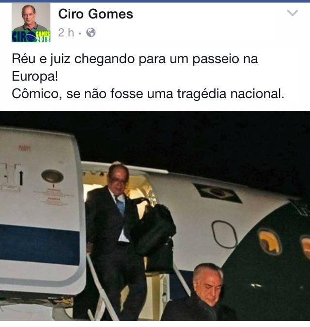 Do Face Book de Ciro Gomes. (reprodução).