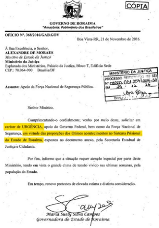 O oficio da governadora de Roraima mostrou que mais uma vez o ministro da Justiça mentiu.