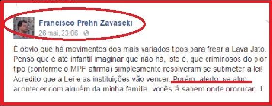 Recado do filho do ministro Teori Zavascki, Francisco, em maio passado.