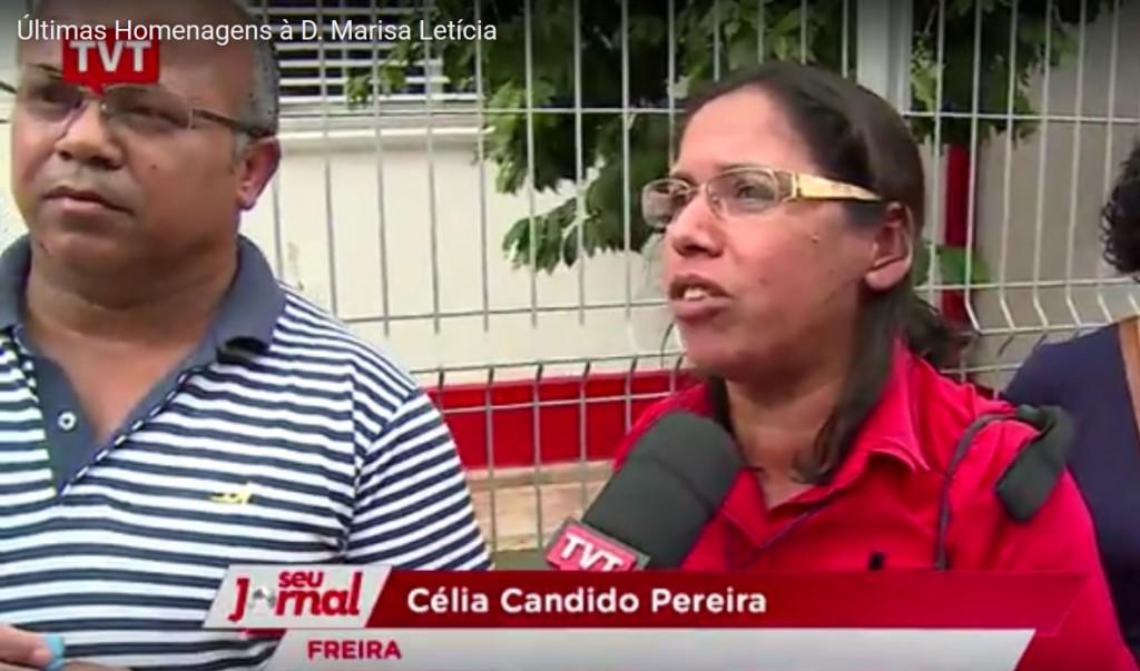 A freira Célia Cãndida Pereira sendo entrevistada pela TVT de manhã, na fila de espera. ( http://www.tvt.org.br/ultimas-homenagens-a-d-marisa-leticia/ )