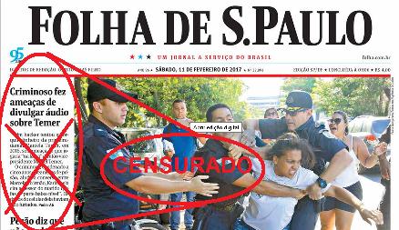 Primeira página da Folha com a reportagem censurada