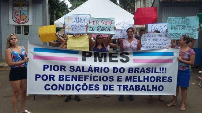 Familias na grev da PM capixaba ( foto Movimento das famílias da PMES