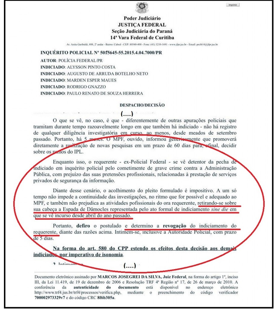 trechos da decisão de Josegrei