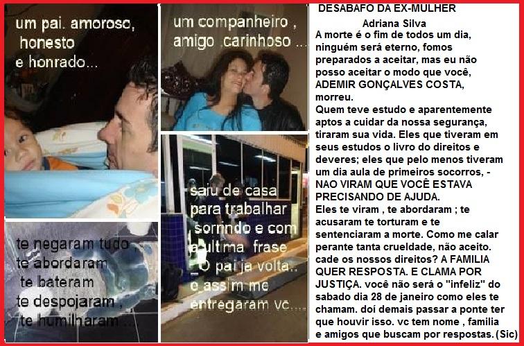 Manifestação da ex-mulher de Ademir, Adriana Silva, mãe de seus dois filhos, no facebook exigindo Justiça.