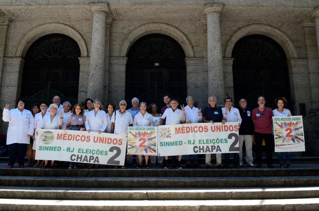 Chapa 2, Médicos Unidos, formada por opositores à permanência de Jorfge Darze  no sindicato após 18 anos, conquistou a eleição na sexta-feira (24/03). Reprodução Facebook