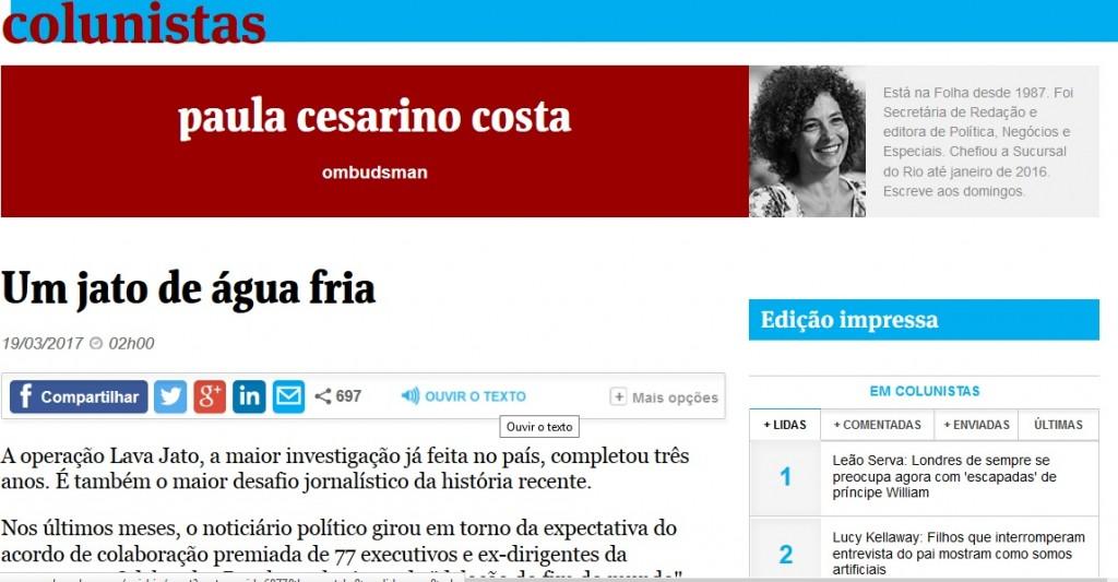 Coluna de Paula Cesarino Costa, Ombudsman da Folha.