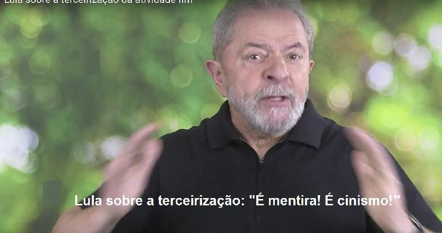 Lula sobre terceirização