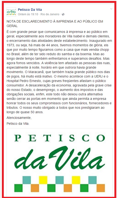 Nota oficial do Petisco da Vila