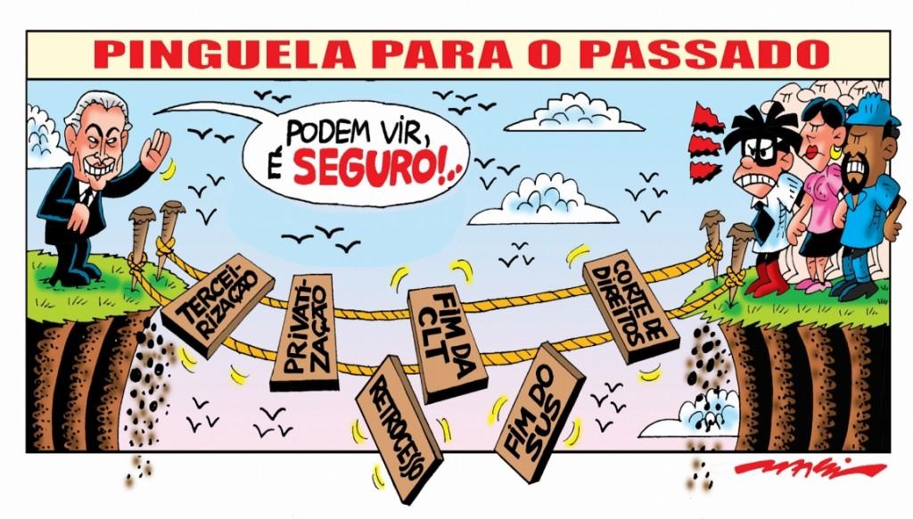 Charge de Márcio Baraldi, copiada do site da Confederação Nacional dos Trabalhadores em Transporte e Logística - www.cnttl.org.br