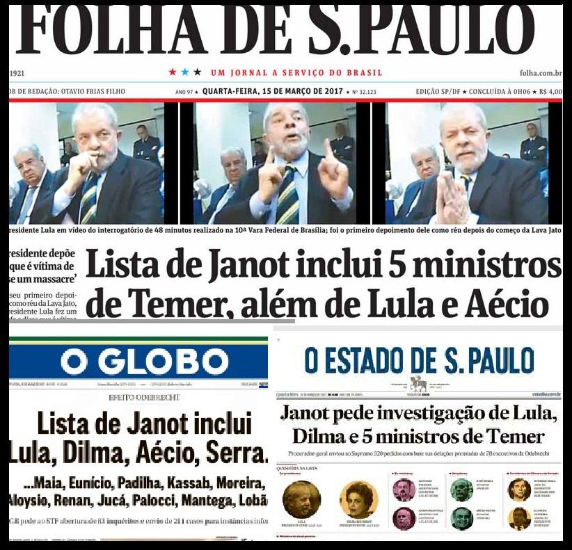 Comendo nas mãos da mesma fonte, sem maiores questionamentos, os jornais saem com manchetes parecidas quando não idênticas. Reprodução.