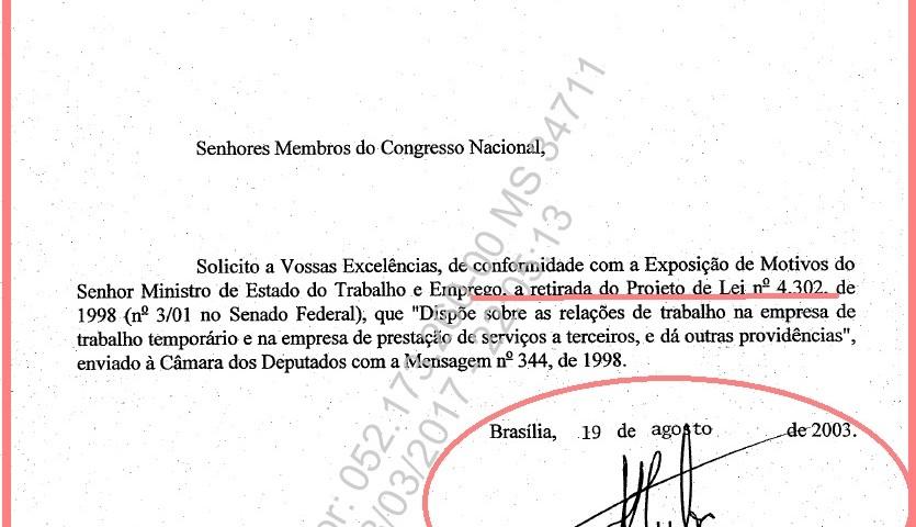 Uma mensagem de Lula, datada de agosto de 2003, deve derrubar o Projeto de Lei aprovado na Câmara liberando a terceirização da mão de obra.