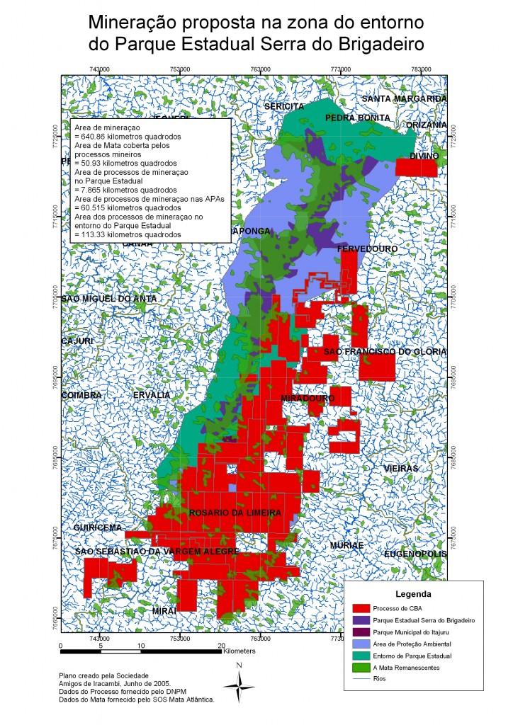 Em vermelho, no mapa, a área de bauxita que se pretende explorar.