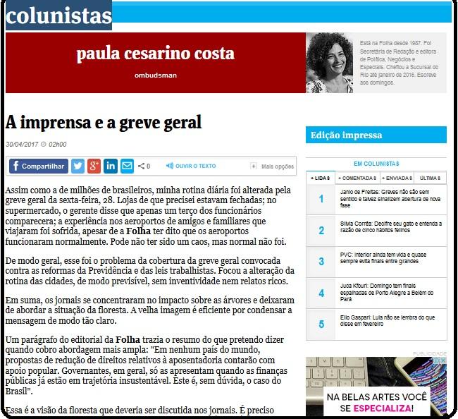 Reprodução da Coluna Ombudsman da Folha de S. Paulo
