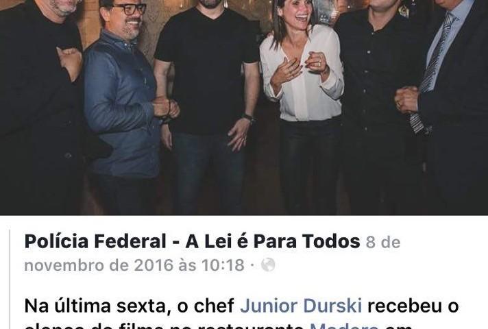 """No facebook aparece um dos primeiros parceiros da produção do filme """"Polícia Federal: A Lei é Para todos"""": O Grupo Madero, inocentado na Carne Fraca."""