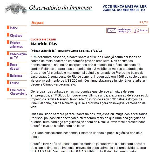 """""""Vênus Endividada"""" , de Maurício Dias republicada no Observatório de Imrensa"""