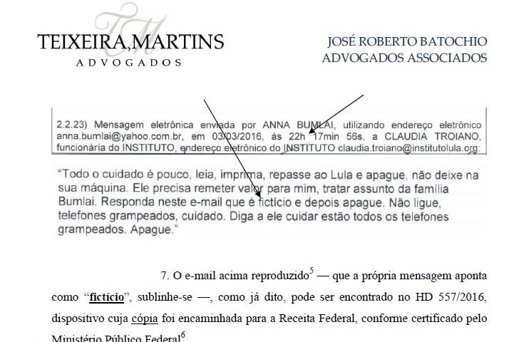 O e-mail, de endereço fictício, serviu à Receita para suspender a isenção fiscal do Insituto Lula e ao juiz Sérgio Moro para autorizar a condução coercitiva do blogueiro Eduardo Guimarães, sem maiores justificativas.....