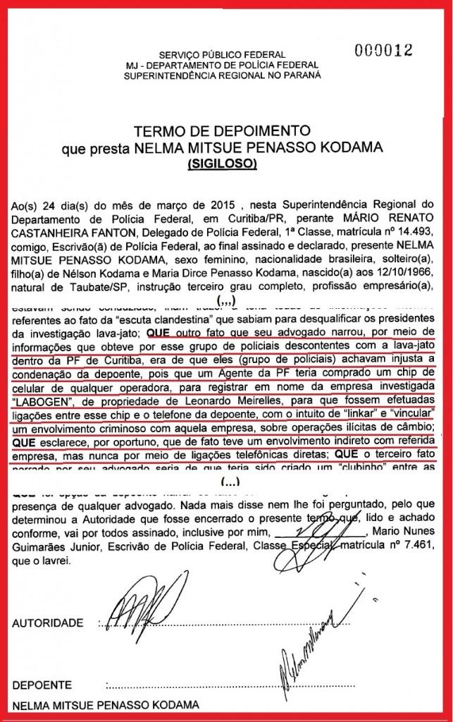 Depoimento de Nelma Kodana ao delegado Mario Fanton, em 24 de março de 2015.